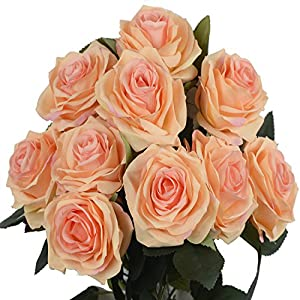 DALAMODA Peach 2 Bundles (with Total 20 Heads) Rose Flower Bouquet, for DIY Any Decoration Artificial Silk Flower(Pack of 2 Peac#1) 113