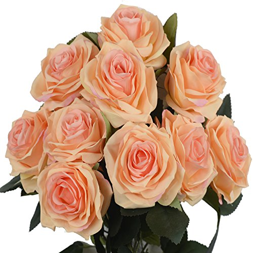 DALAMODA Peach 2 Bundles (with Total 20 Heads) Rose Flower Bouquet, for DIY Any Decoration Artificial Silk Flower(Pack of 2 Peac#1) (Silk Roses Peach)