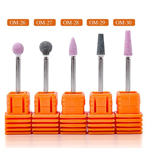 MIOBLET 5pcs/set Ceramic Stone Nail Drill Bits 3/32