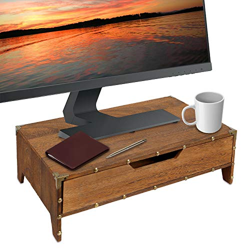 Ikee Design Wooden Monitor Stand Computer Riser with Drawer