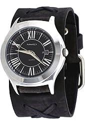 Nemesis #FXBB099K Men's Roman Classic Black Dial Wide X Cuff Leather Band Watch