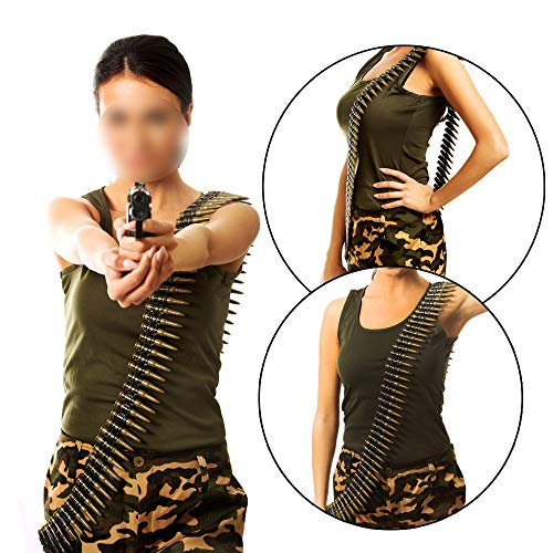 X Hot Popcorn 60 Inches Army Bullet Belt Deluxe Bandolier Belt Costume Accessory Pretend Play -