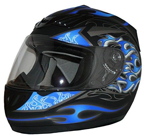 Protectwear Motorcycle helmet matt black/blue flames H-510-BL Size M