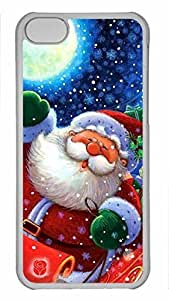 Shell Case for iphone 5C with Santa Claus DIY Fashion PC Transparent Hard Skin Case for iphone 5C