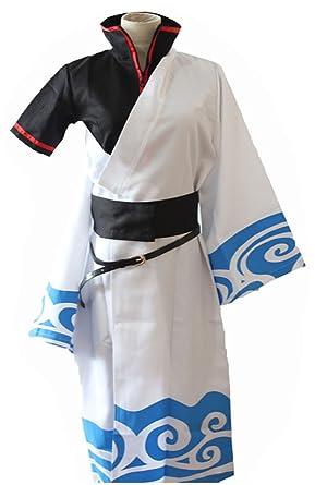 ed29a7ea8 Vorwind Men's Japanese Animation Cosplay Sakata Gintoki Kimono Size  XX-Large White