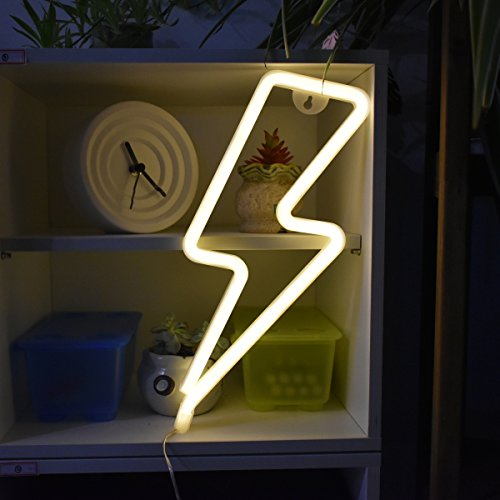 White Lightning Bolt - Lightning Bolt Neon Sign, Warm White LED Neon Night Wall Decor Light with Battery/USB Operated for Birthday Party Wedding Bedroom Decorations
