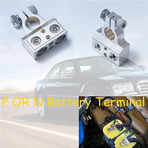 Ocamo Terminal de Distribución de Batería de Dual Positivo y Negativo 1Par para la Crucero,Coche,Niquelado