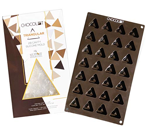 CHOCOLOT Triangular 28-Cavity Silicone Chocolate/Candy/Ice/Gummy/Lotion/Fat Bomb Mold, LFGB Grade Silicone, BPA Free, Oven Safe - Cavity Capacity 1-1/8 of teaspoon (0.19 ounce) (1)