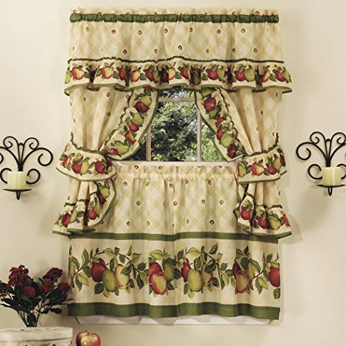 3 Piece 24 Inch Apple Orchard Printed Kitchen Tier Set, Red Color Fruits Colorful Frills Novelty Pattern Country Style Antique Vintage Traditional Valance Tiebacks Modern Stylish Vibrant, Polyester