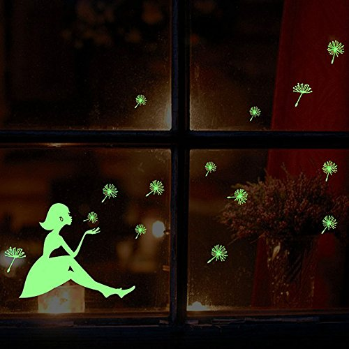2 Sheets Glow in the Dark Luminous Beautiful Girl and Romantic Dandelion Wall Decals Stickers Home Art Decor Wall Decorative for Girls Babys Bedroom girls decor
