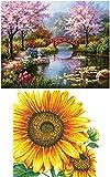 eGoodn Diamond Painting Full Drill DIY Art Beads Cross Stitch Kit Pack of 2, Sakura Garden and Sunflower, No Frame
