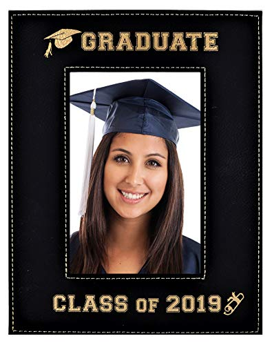GIFT FOR GRADUATE / GRADUATION ~ Class of 2019 Picture Frame ~ Engraved Leatherette Graduation Picture Frame Elegant Black Frame Engraves in Gold Beautiful Display (Class of 2019 - 5x7)