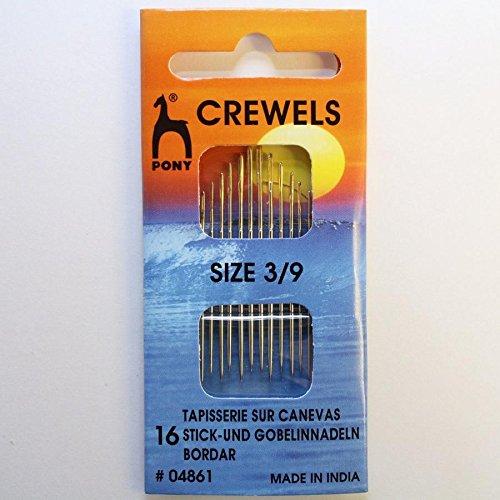 Crewels T 3//9 Carte de 16 Aiguilles /à Coudre