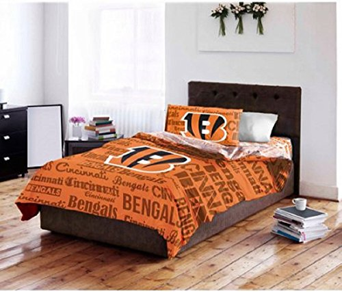 5 Piece NFL Cincinnati Bengals Comforter Full Set, Sports Patterned Bedding, Featuring Team Logo, Fan Merchandise, Team Spirit, Football Themed, National Football League, Black, Orange, Unisex