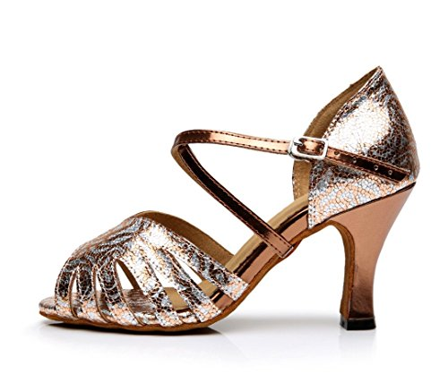 Tda Dames Enkelbandje Hoge Hak Peep Toe Salsa Tango Ballroom Latin Moderne Dans Trouwschoenen Brons