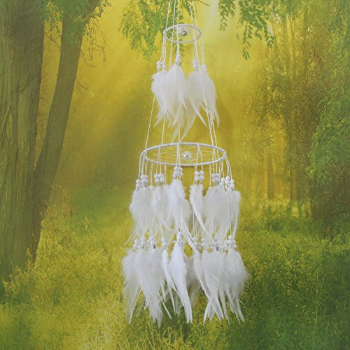 """Jescrich Handmade Wall Hanging Decor Large Dream Catcher with Feathers Ornaments for Bedroom Long 19.7"""" (White, Two Circles)"""