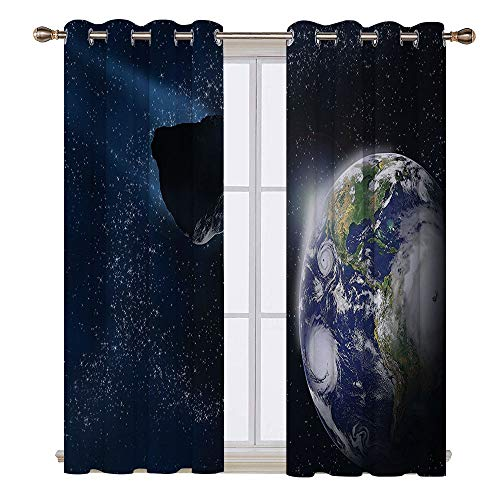 SATVSHOP Solid Ring top Blackout Window Curtains/Drapes Two Panels - 96W x 96L Inch- Galaxy Attack of The Asteroid ocky Body Comet on Planet Earth Meteor Shower Display Dark Blue Grey.]()