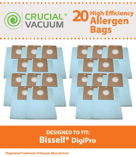 20 Canister Vacuum Bags for Bissell DigiPro Vacuum Model # 6900; Compare to Part # 32115; Designed & Engineered by Think Crucial