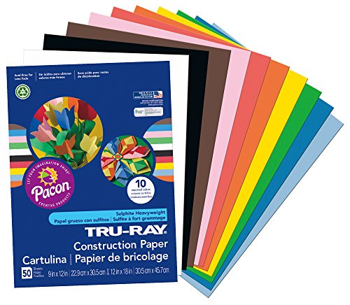 Construction Paper, 50-Count, Assorted (103031)