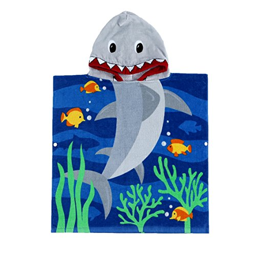 Child 100% Cotton Hooded Towel 24 x 48 inches (Blue Shark) -
