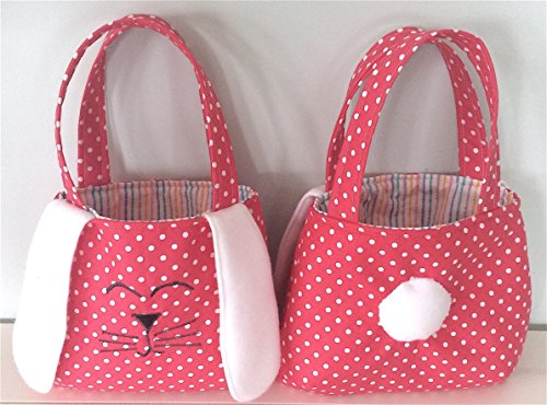 Easter Bunny Basket Fabric Tote Bag Purse with Floppy Ears