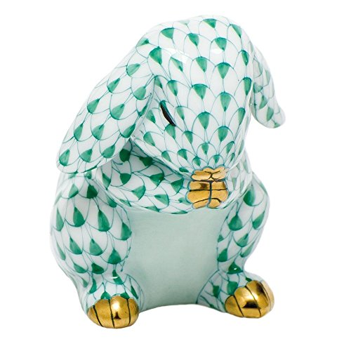 Herend Bunny Figurines (Herend Figurine Praying Bunny Rabbit Green Fishnet)