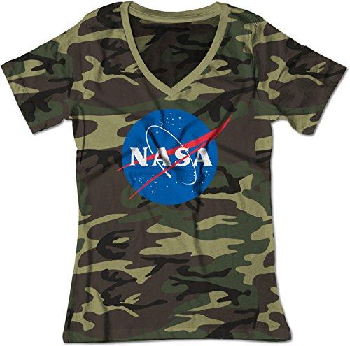 BSW Women's NASA Space Astronomy Insignia V-Neck Shirt SM Camo
