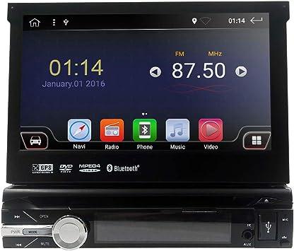 Android 9.0 - Radio universal para coche de 1 DIN, 7 pulgadas, GPS, soporte para pantalla táctil, WiFi, Bluetooth, espejo, control del volante, RDS, subwoofer, cámara de visión trasera DAB+ DVR: Amazon.es: Electrónica