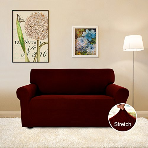 Easy-Going Stretch Slipcovers, Sofa Covers, Furniture Protector with Elastic Bottom, Anti-Slip Foams, Couch Shield, Polyester Spandex Jacquard Fabric Small Checks by (loveseat, wine) - Polyester Furniture Cover