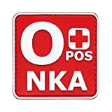 o positive pvc patch - OPOS O+ NKA Blood Type No Known Allergies Morale Tactical PVC Rubber Hook-and-Loop Patch