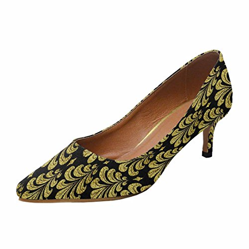 Scarpe Da Donna Low Cost Con Tallone Gattino A Punta Piatta Scarpe Damasco Oro Modello Damasco Multi 1
