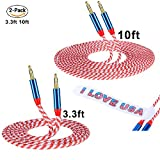 Stereo Cable CSHope 2Pack 3.5mm to 3.5mm Male Jack Nylon Braided Aux Audio Cable with US Flag Color Design (10ft + 3.3ft)