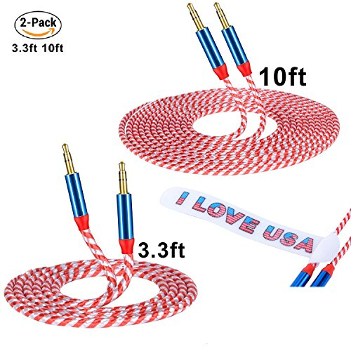 Stereo Cable / AUX Cable, CSHope [ 2 Pack, 10ft / 3M + 3.3ft / 1M Flag Color Design ] 3.5mm Professional Auxiliary Audio Cable with Braided Nylon (2pack male to male)