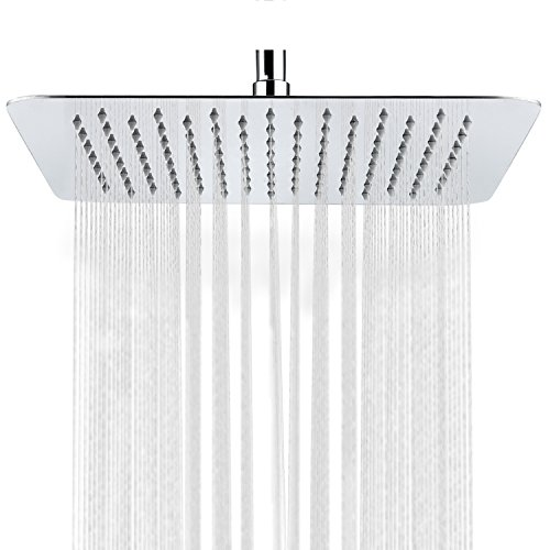 SR SUN RISE Luxury 12 Inch Large Square Stainless Steel Shower Head High Pressure Rainfall Showerhead Ultra Thin Water Saving Chrome Finish