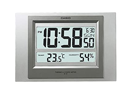 RELOJ DE PARED DIGITAL CASIO CON TERMOMETRO, HIGROMETRO Y CALENDARIO ID-16S-8DF