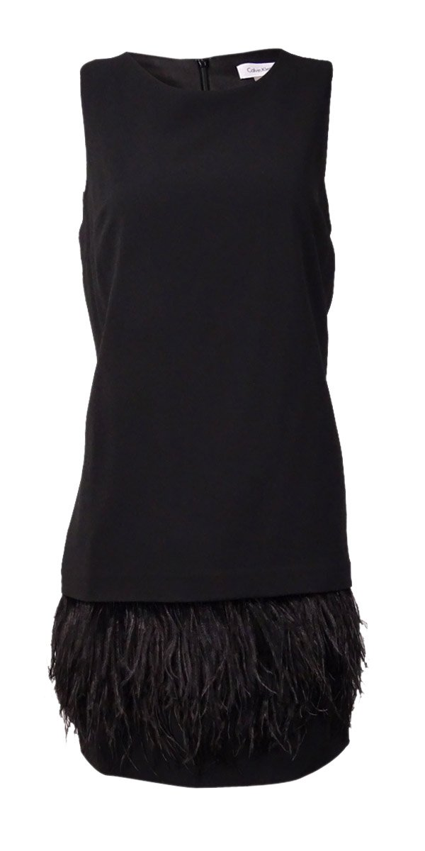 Calvin Klein Women's Feather-Trim Sleeveless Shift Dress (8P, Black)