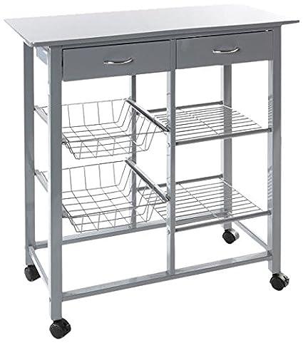 JJA JJ114235 - Mesa auxiliar de cocina con ruedas, color gris