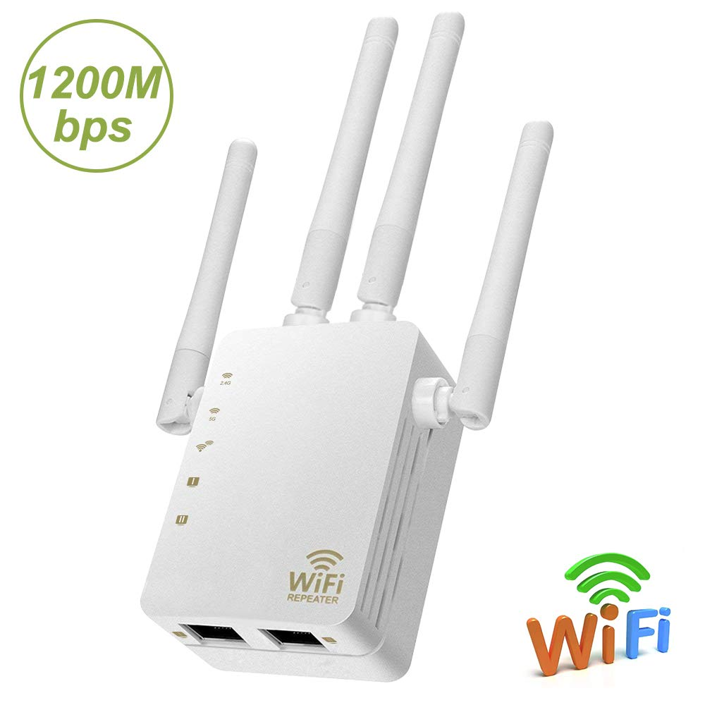WiFi Range Extender, Aigital AC1200 Dual Band WiFi Internet Signal Booster Wireless Repeater for Router, Easy Setup with WPS Extends 2.4 & 5GHz WiFi to Smart Home & Alexa Devices-High Speed 1200Mbps by Aigital