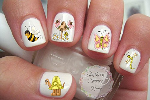 Amazon Com 40 Hope Floats Bee Butterfly Dragonfly Turtle Nail