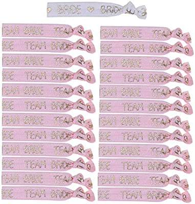 White and Rose Gold Hen Party Favour Hair Bands SEALEN 25PCS Bride Team Wristbands Elastic Bride Tie Accessories for Wedding Hen Party Decoration