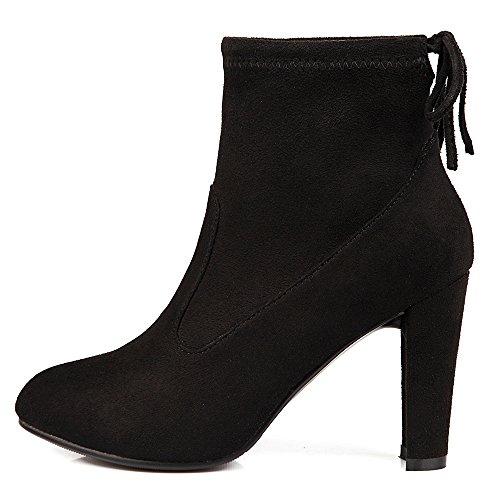 VB Short Boots Shoes Solid Color Big size Round Head High heel Strap Black Nd9TXtZ3C