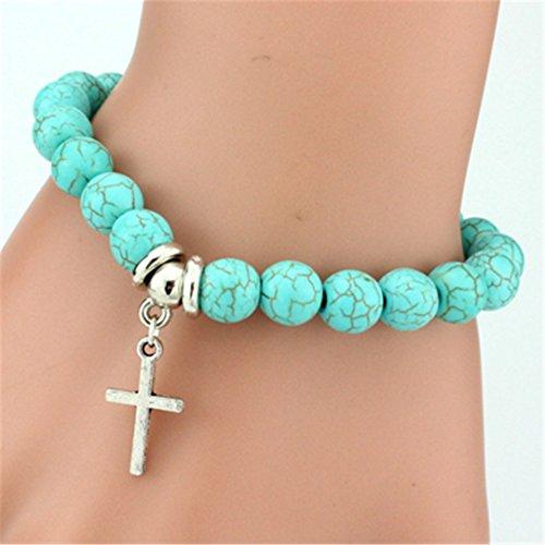 Vintage Turquoises Bracelets For Women Men Cross Tree Snake Owl Hand Pendant Charm Bracelet Bangle Jewelry Cross