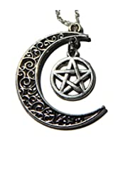 Silver Crescent Moon and Pentagram Necklace, Witchcraft Necklace, Moon Necklace, Half Moon Necklace, Gothic Necklace