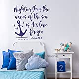 BATTOO Bible Verse Wall Decal Mightier Than the Waves of the Sea Is His Love For You- Scripture Wall Decal Psalm 93:4- Nautical Nursery Wall Decal Quote(navy blue, 28''WX26''H)
