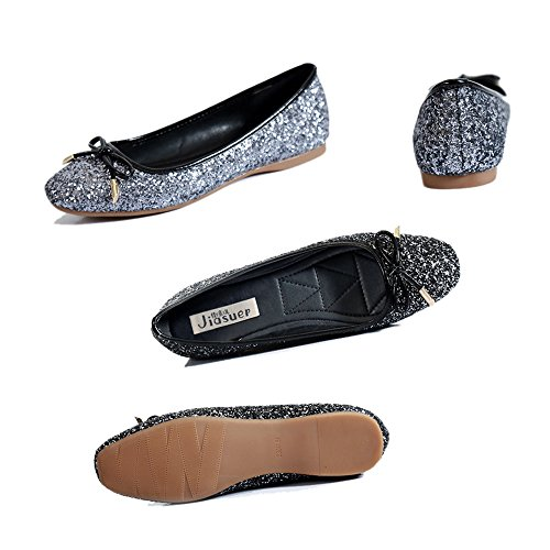 Bowknot Paillette Dazzling Flat Thin 39 black Square Metal Shoes f74zww