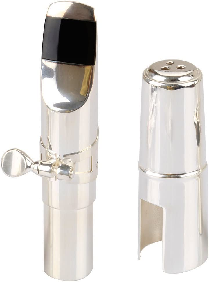 Aibay Nickel Platedze Bb Tenor Metal Saxophone Mouthpiece with Cap and Ligature Size #7 Bb Tenor Sax Mouthpiece