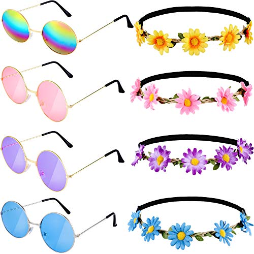 asses Retro Round Sunglasses and 4 Pieces Daisy Flower Crown Hair Wreath Sunflower Headband for Summer Party Supplies, 4 Colors ()