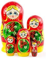 Azhna 5 stuks 15 cm seizoenszomer souvenir matroschka nesting pop home decor collectie klassieke stijl handgeschilderde Russische pop hout stapelpop