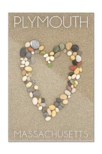 Plymouth, Massachusetts - Stone Heart on Sand (16x24 Acrylic Wall Art Gallery - Hanging Plymouth Lantern