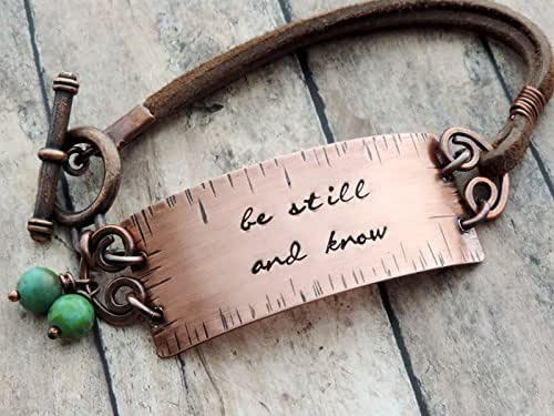 Amazon.com: Be Still And Know Stamped Copper And Leather